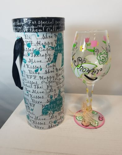 DELISH FIFTH AVENUE HAND PAINTED CRYSTAL STEMWARE BRIDAL SHOWER DESIGN NWT