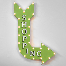 "36"" SHOPPING Curved Arrow Sign Light Up Metal Marquee Vintage Store Shop... - $155.93+"