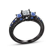 Black Gold Plated 925 Silver Blue Sapphire Past Present & Future Ring Free Shipp - $83.96