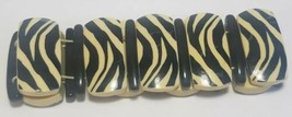 Vintage Avon ZEBRA STRIPE Bracelet 1987 Black White AS IS crafts DIY  - $17.52