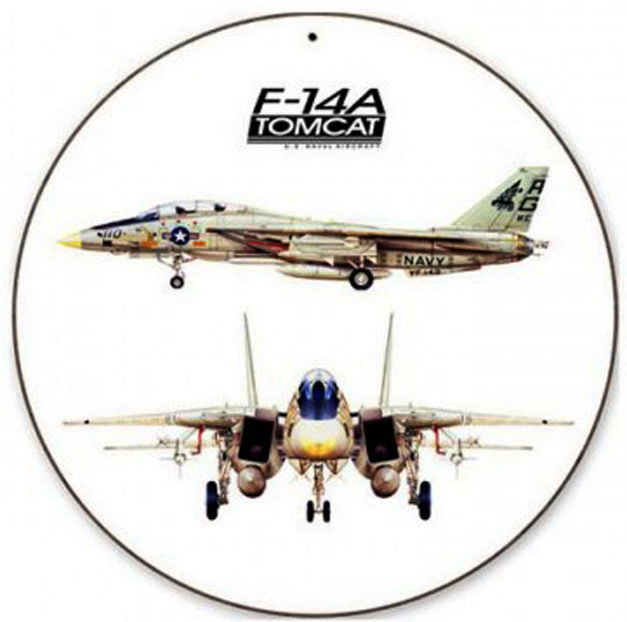 "F-14 Tomcat 14"" Round Metal Sign - $29.95"