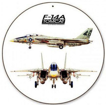 "F-14 Tomcat 14"" Round Metal Sign - $29.95"
