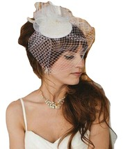 Vintage 1940s-50s Fascinator Veil Hat White, Ivory Tear drop hat  birdcage veil - $32.99