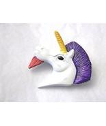 Vintage Enamel Unicorn Head Pin Brightly Colored Brooch - $12.29