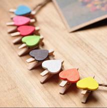 30pcs Cute Heart Wooden Clips,Mini Wooden Pegs,Pin Clothespin,Wedding De... - $3.50