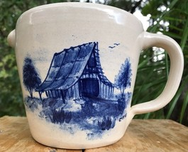 MARSHALL TEXAS 1993 P.R. STORIE POTTERY PITCHER BLUE BARN COVERED BRIDGE... - $29.37