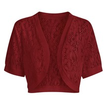 Plus Size Open Front Lace Panel Crop Top(RED WINE 2X) - $14.93