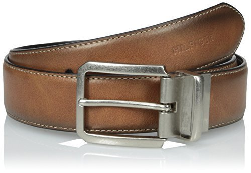 Tommy Hilfiger Men's Casual Reversible Belt, Tan/Black Stitch, 40