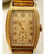 Mens Vintage ELGIN WATCH 1/20 10K Gold Filled Flex Band Not Working Parts - $47.45