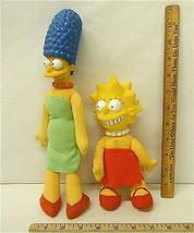 "Vintage 1990 Marge 12"" & Lisa Simpson 8.5"" Plush Vinyl Dolls Burger King Premium - $6.25"
