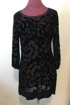 JUICY COUTURE Lace Underlay Black Dress Side Zipper Beaded Neck Long Sle... - $79.95