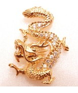 Luck Pendant Necklace China Royal Dragon 18K Gold Plated Simulated Diamo... - $22.34
