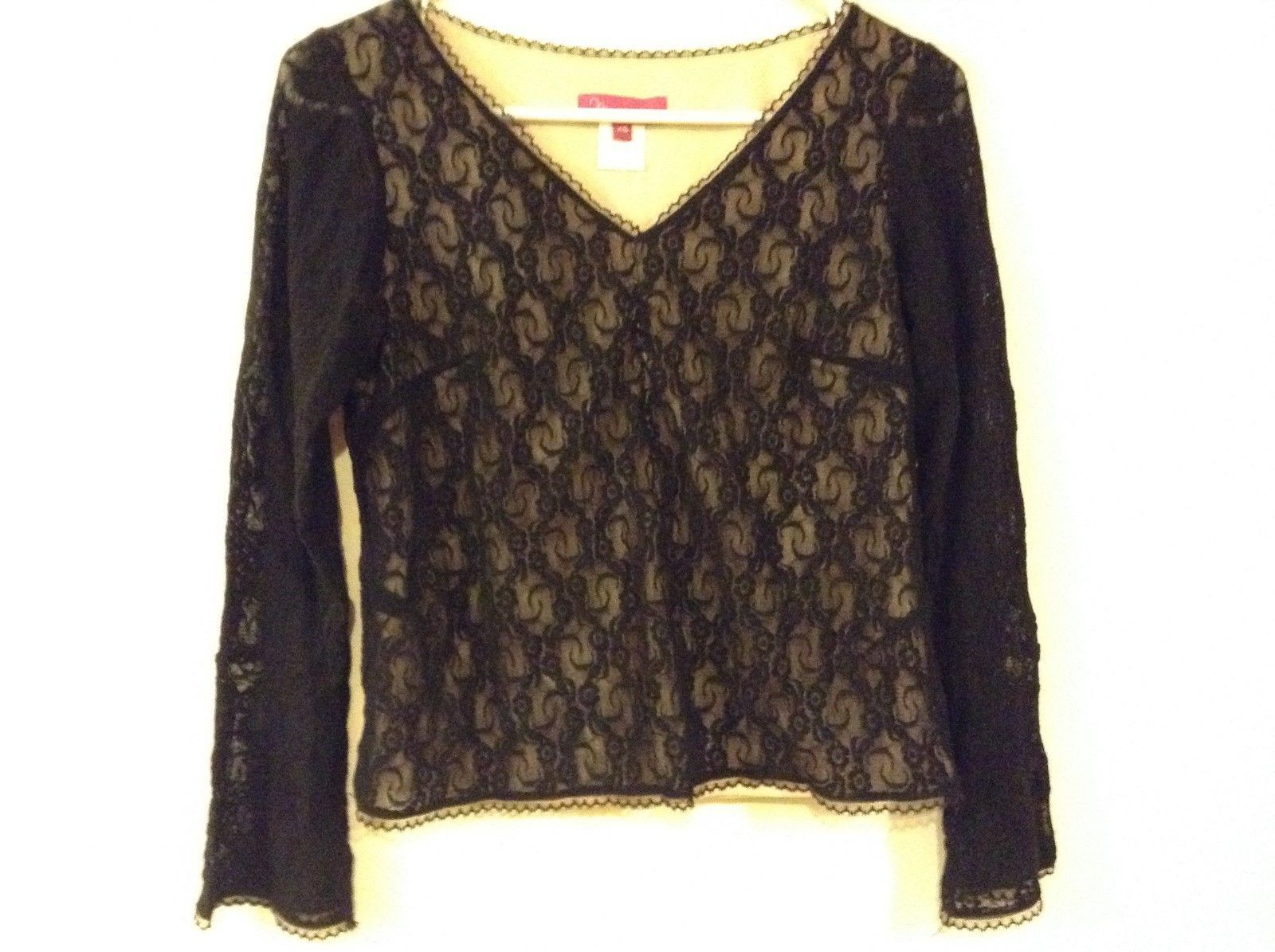 Mommy Chic Black Lacey V-Neck Top w Bell Sleeves Sz XS