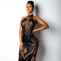 Women's Famous Fashion Sequinned See Through Illusive Dress image 1