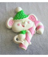Avon Festive Cute Mouse with Candy Cane Christmas Brooch - $12.82