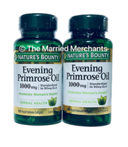 (2) Nature's Bounty Evening Primrose Oil 1000 mg 60 softgels each 12/2023 FRESH! - $19.88
