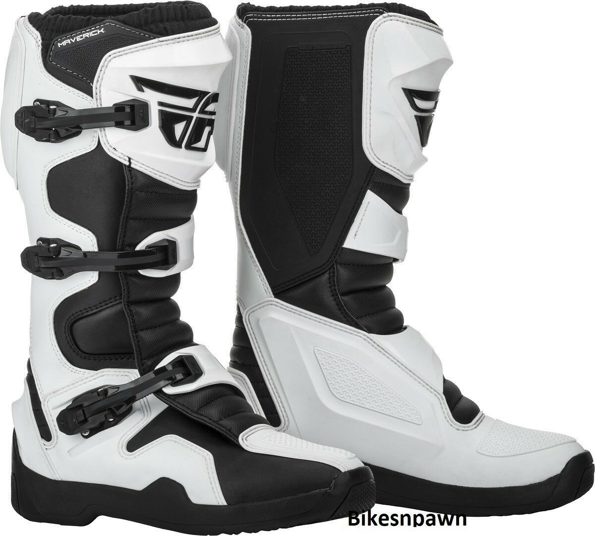 New 2019 Adult Size 7 Fly Racing Maverik White & Black Motocross MX ATV Boots