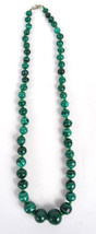 Rich Green Malachite Graduated Bead Necklace Long - $69.14