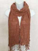 "Brown Beige Plain Patterned Scarf Soft Stretchy Tassels Long 76"" - $18.99"
