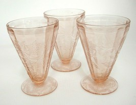 Jeannette Pink Depression Glass Poinsettia Floral 3 Footed Tumblers 7 oz... - $29.69