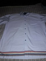 Tommy Hilfiger Mens  LRG Button Front Shirt 80's 2 Ply Fabric multicolor stripe - $13.85