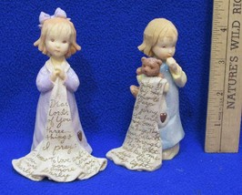 Foundations Figurines Girl w/ Bear & Blanket Prayer Lot 2  K Hahn Dear Lord - $9.89