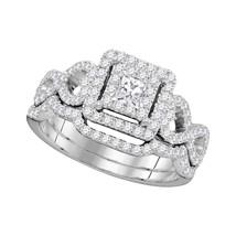 14kt White Gold Princess Diamond Bridal Wedding Engagement Ring Band Set 7/8 Ctw - $1,399.00