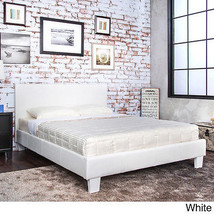 Upholstered Platform Bed Queen White Faux Leath... - $228.33