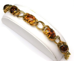 Vintage Gold Chain Link Bracelet w/Black And Gold Bezel Set Confetti Cabochons - $16.95