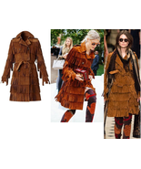 WOMEN'S NEW POPULAR WESTERN TAN FRINGED SUEDE LEATHER TRENCH COAT WWJ31 - $499.00