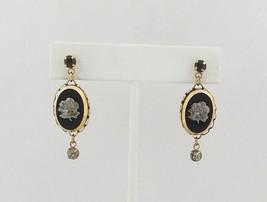 Vintage Earrings - Gold tone Silver Tone Rose Rhinestone Dangle - $8.96