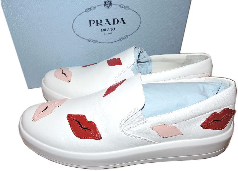 Prada Skate Sneaker Flats White Leather Slip On Shoes 39 Lip-Appliqued image 2