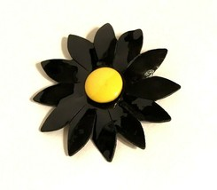 VTG Faux Black Patent Leather Yellow Center Cloth Daisy Flower Pin Brooc... - $14.84