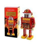 "FIRE CAPTAIN ROBOT 5"" Saint St. John Wind Up Tin Toy Collectible Retro M... - $26.95"
