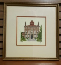 Vintage Cross Stitched Mansion by SJ Double Matted and Framed Under Glass - $19.95
