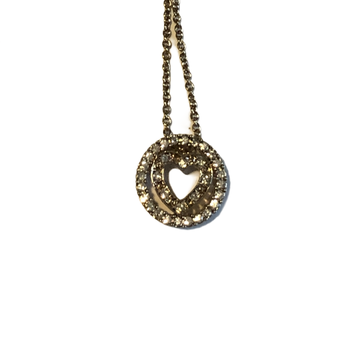 Avon Gold Tone Rhinestone Heart Necklace Pendant Black Gift Pouch - $12.86