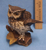 Vintage HOMCO Great Horned Owl on Log Figurine - $10.36