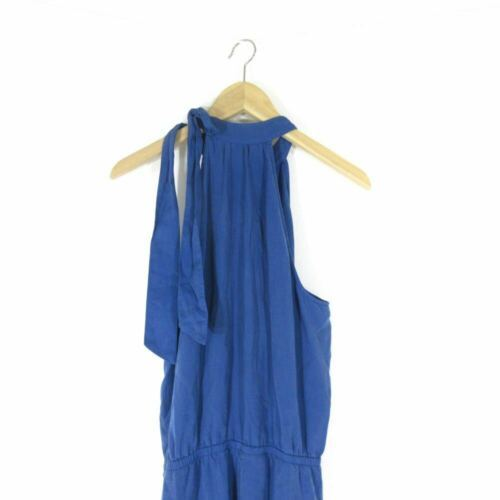 M - Cloth & Stone Anthropologie Blue Halter Tie Neck Sleeveless Jumpsuit 0000MB image 4