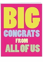 Big Congrats From Us' Greeting Card w/Envelope - A Gigantic Shout Out Of... - $11.47