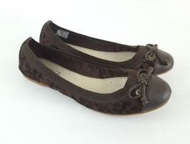 Sperry Top Sider flats brown cheetah leopard calf hair bow womens 8 - $28.05