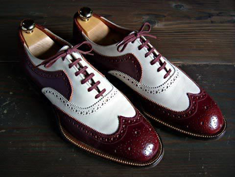 Handmade Men's Maroon and White Wing Tip Brogues Style Dress/Formal Oxford S