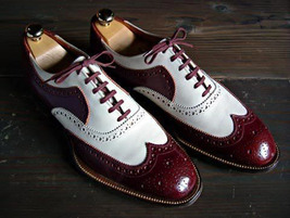 Handmade Men's Maroon and White Wing Tip Brogues Style Dress/Formal Oxford S image 1