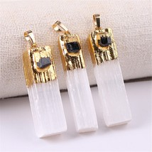 1pc Amethysts Natural Stone Pendant Selenite Pendants With Crystal Citri... - $11.70