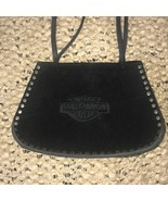 Harley-Davidson Motorcycles Suede Purse Black Sturdy Thick Leather - $94.04