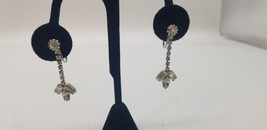Vintage Rhinestone Dangle Clip On Earrings With Baguette Stones On Botto... - $19.32