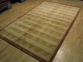 Beige Rug 5 x 8 Wool & Silk Centered Waves Nepalese Hand-Knotted Rug image 4