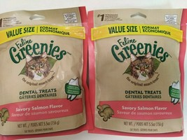 2 Feline Greenies Dental Treats Salmon Flavor 5.5 oz *Past Best By 11/23... - $9.69