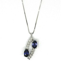 18K WHITE GOLD NECKLACE, ALTERNATE OVAL BLUE SAPPHIRES & DIAMONDS PENDANT image 1