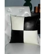 100% Lambskin Leather Pillow Cover Sofa Cushion Black & White Colour - £60.79 GBP+
