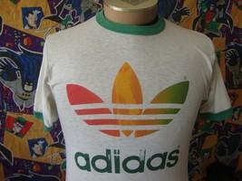 Vintage 80's Adidas Trefoil Rainbow T Shirt  - $197.99